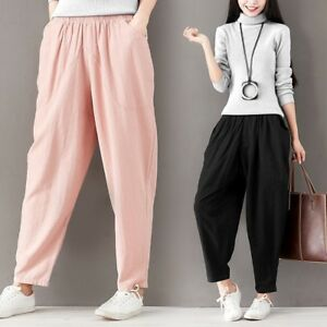 0986379b48a Women Linen Harem Pants Loose Cotton Wide Leg Baggy Yoga Trousers ...