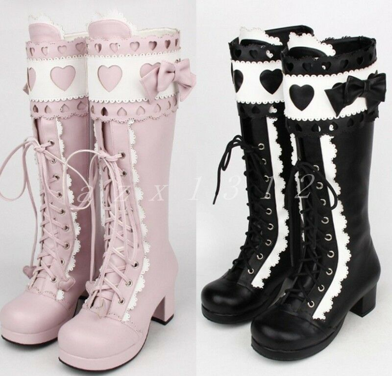 Mujer Encaje Knee Niña Lolita Plataforma Zapato Bloque Talón dulce Bowknot Knee Encaje High bota eac5ec