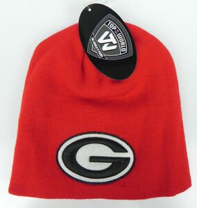 GEORGIA-BULLDOGS-RED-NCAA-BEANIE-TOP-OF-THE-WORLD-SIMPLE-KNIT-CAP-HAT-NWT