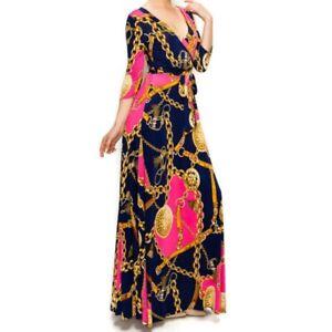 Janette-Fashion-Pink-Gold-Chain-Buckle-Tassel-Faux-Wrap-Maxi-Dress-S-M-L-XL