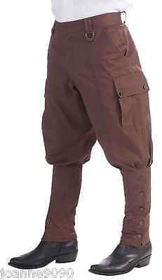 Mens 1920s Steampunk Victorian Fancy Dress Costume Brown Trousers Pants Breeches