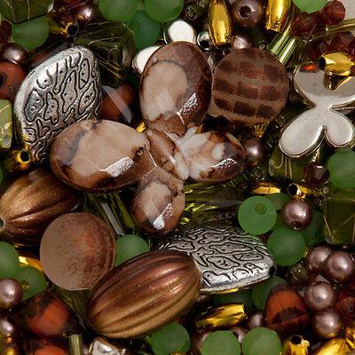 300 perlen grün und braun Mix Schmuck Machen Bastelpaket Bastelset Basteln