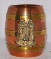 Small Antique Copper & Brass Cask Souvenir Of Lancaster Castle Lancashire