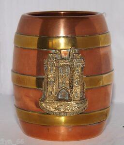 Small-Antique-Copper-amp-Brass-Cask-Souvenir-Of-Lancaster-Castle-Lancashire