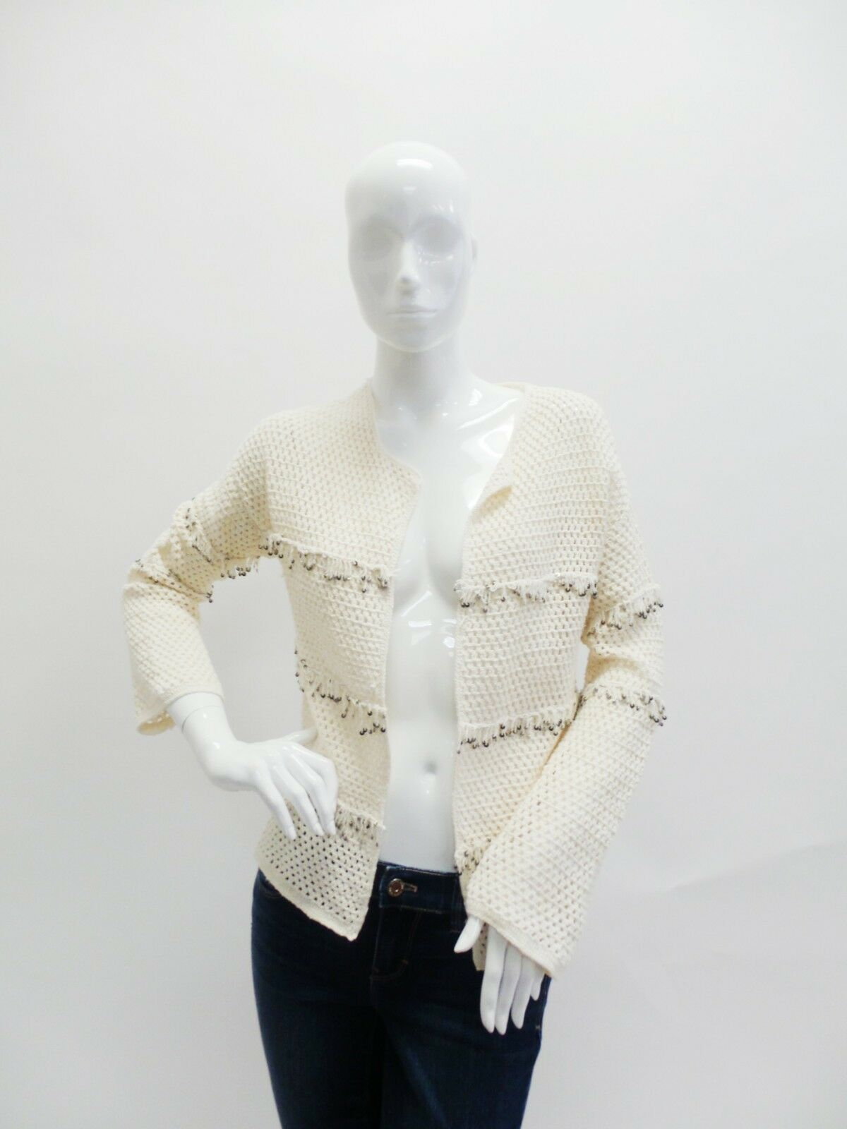 Joie   Natural Jacquine Embellished Crochet Shrug Size Small
