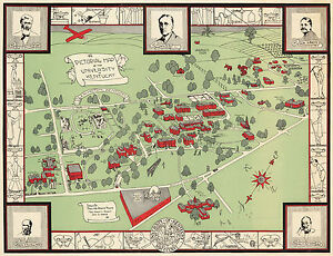 Kentucky Campus Map.Historical University Of Kentucky Campus Map Wall Art Poster Print
