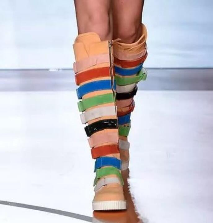 Multicolor Ladies Leather Knee High Boots Catwalks Flats Punk Fashion Roma shoes
