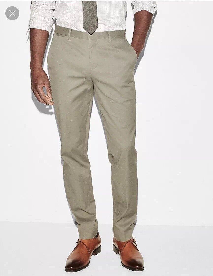 Express Slim Olive Green Stretch Cotton Dress Pant Men's Sz 33 x 32 (31) NWT
