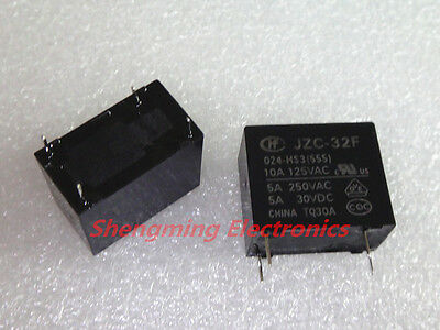 US Stock 10pcs Power Relay SPST 5A 250VAC//30VDC JZC-32F-024-HS