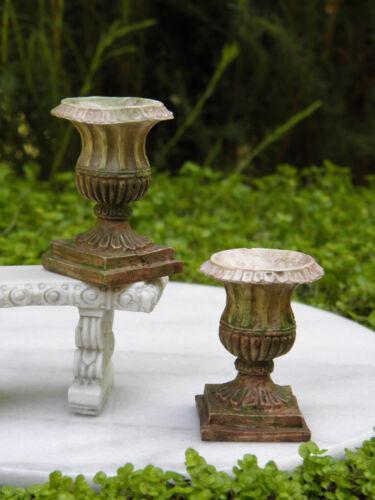 Miniature Dollhouse FAIRY GARDEN Accessories ~ Antiqued Resin Urns ~ 2 Pots