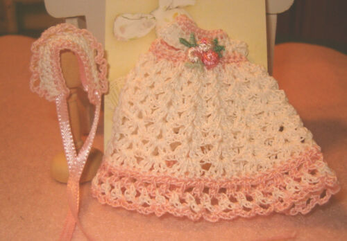 Crochet Dollhouse Victorian Baby Dress Ooak and Bonnet Handmade