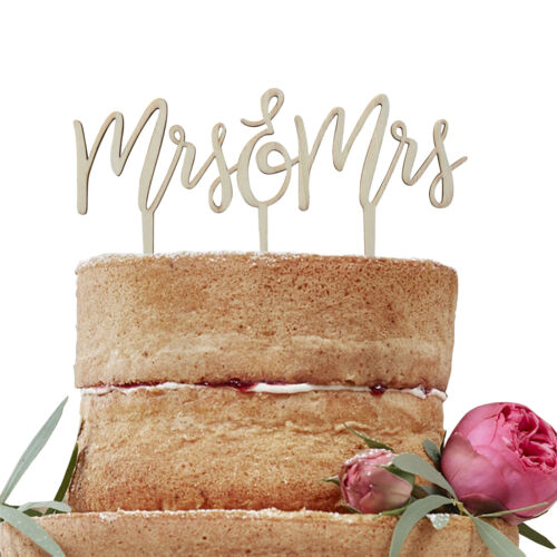 Tortendeko Mrs /& Mrs aus Holz Boho 18 x 14 cm Cake Topper Hochzeit Tortenaufsatz