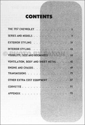 1957 Chevrolet Car Engineering Features Manual 57 Chevy Bel Air 150 210 Nomad