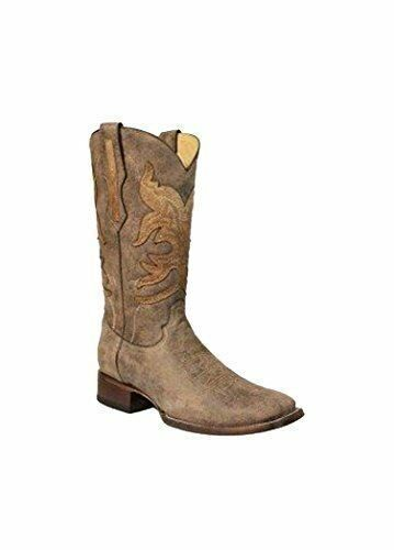 CORRAL Men's Brown Overlay Square Toe Cowboy Boots R1432