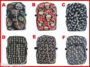 COOL-SKULL-RUCKSACK-Backpack-Rock-Emo-Goth-Crossbones-Skate-School-College-Bag