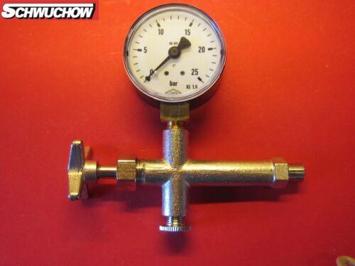 """Entlüftungsarmatur Manometer Ø 50 mm 1//8 /"""" 0-25 bar Radially Pump Test Kit"""
