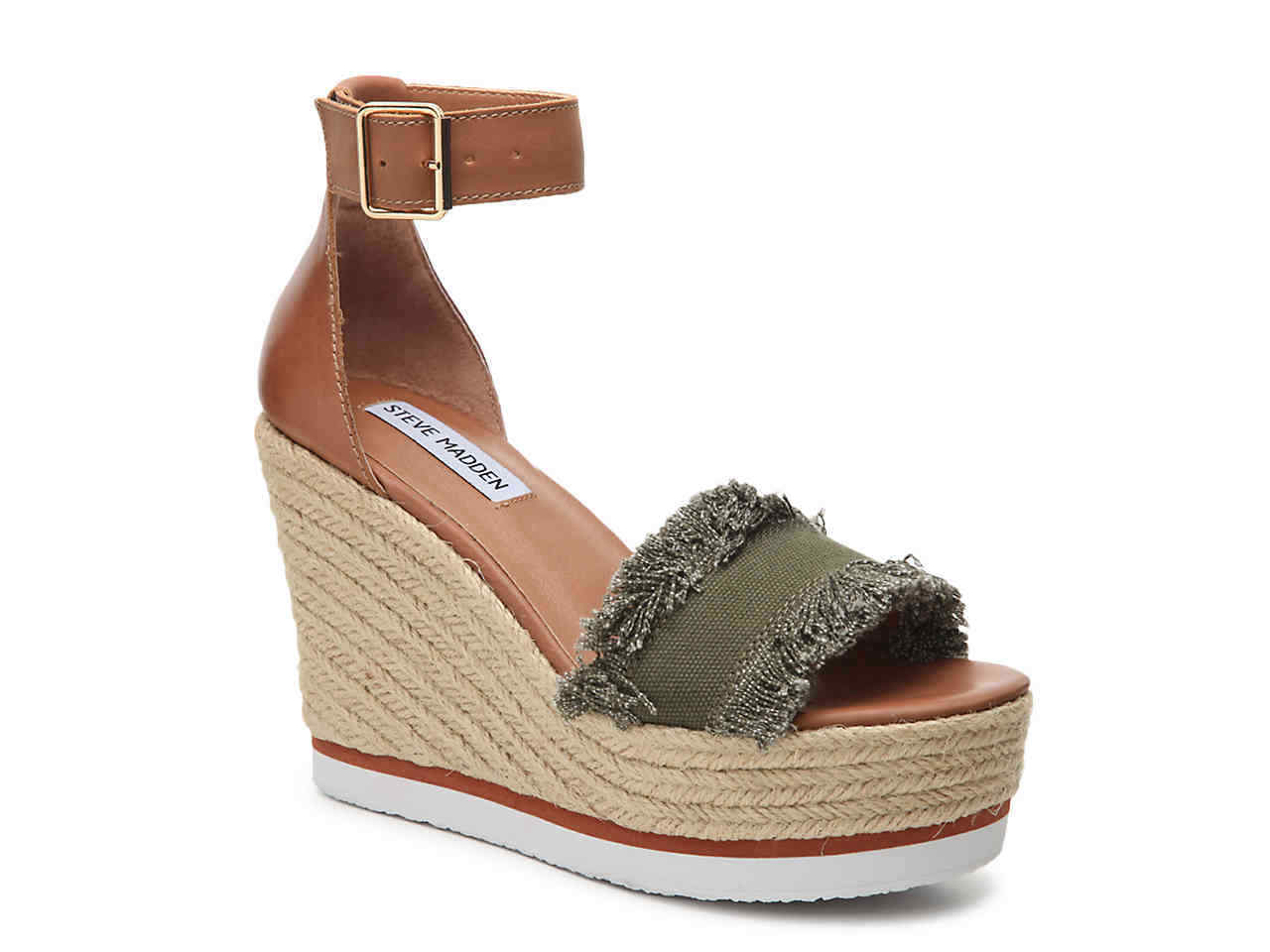 Steve Madden Wouomo Valley Wedge Sandal, Olive Fabric, 10 M US