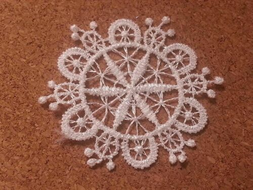 LM3-10 WHITE Vintage LACE Crochet Sew On Fabric Flower Motifs Patches GUIPURE