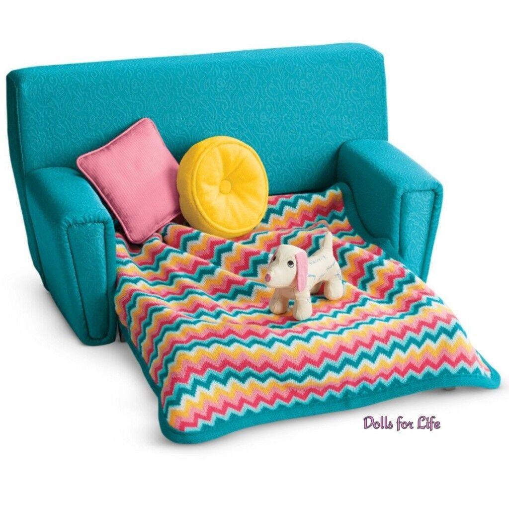 American Girl Maryellen sofá cama conjunto para 18  Muñecas Muebles Sofá Perro Nuevo