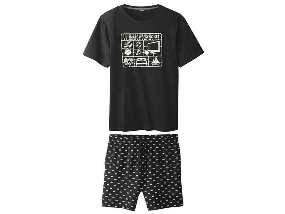 Messieurs d été pyjama Shorty Pyjama grande taille (Noir Blanc, XL XL  (Noir Blanc, 56-58) 3427e7 8d941f39c432