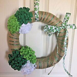 NEW St Patricks Day Wreath Green White Flowers Burlap Ribbon Shamrock Ribbon