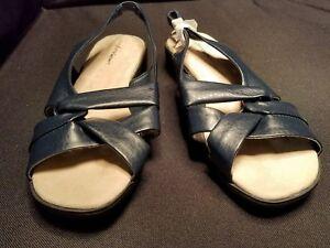 f2b527b1359e29 Details about NWOB~ Comfort View ~7WW~ Black Vegan Criss Cross Slingback  Sandals Comfort Shoe