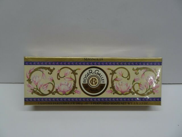 roger & gallet  3 savons perfumed soaps 3x3.5 oz new paris magnolia new boxed