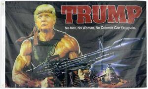 Trump Make America Great Again flag 3 x 5 Machine Gun MAGA Rambo Trump 2020 RPG