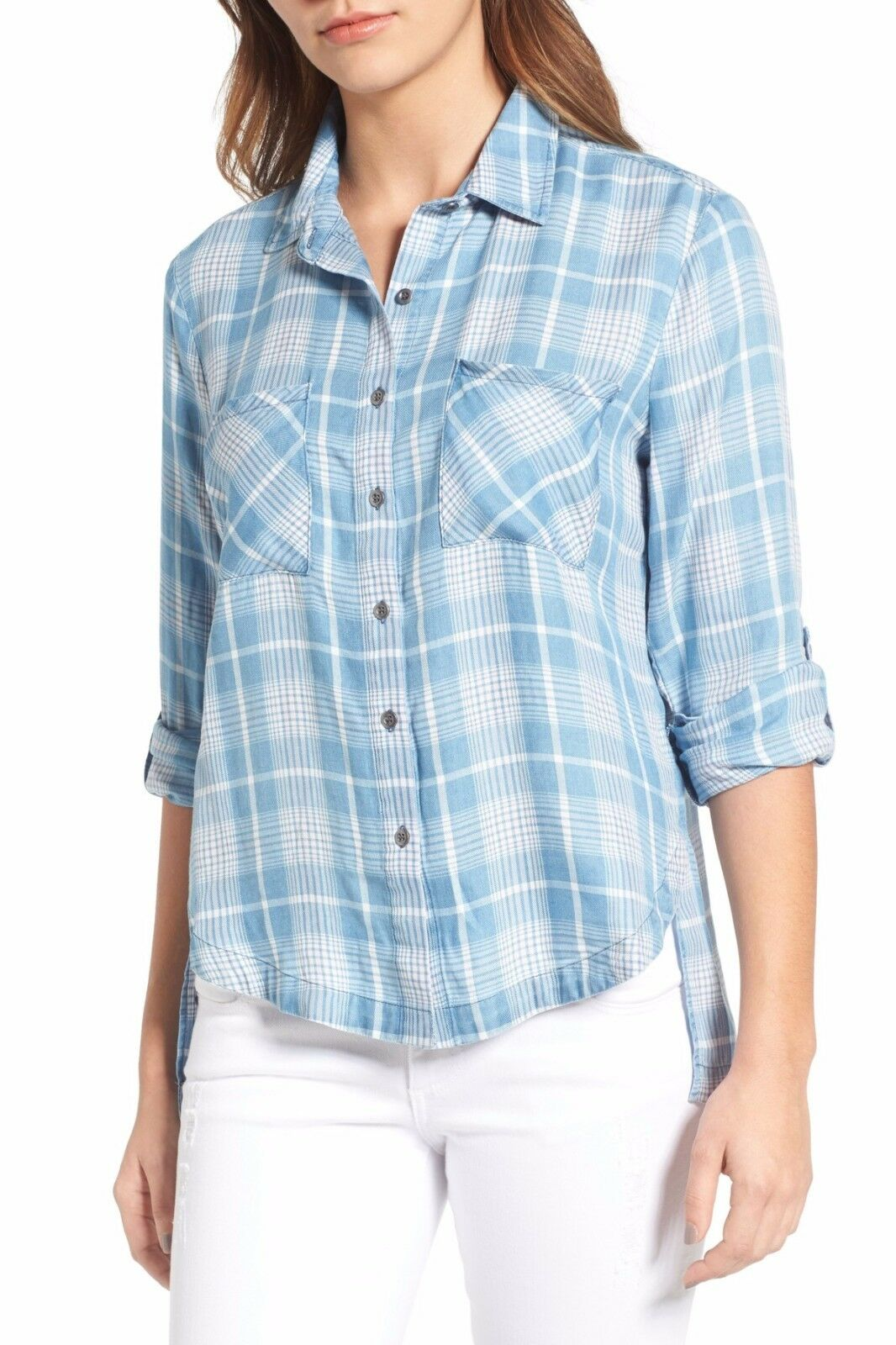 BILLY T Blouse Hi-Lo Girlfriend Plaid - Sz L
