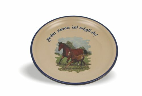 """Flacher Teller 19cm mit Namen und Bild /""""Pferde /& Reiter/"""" Geschenk 15 Varianten"""