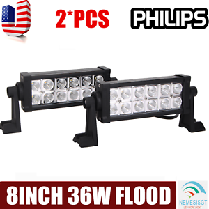 2X 36W 8inch PHILIPS LED Work Light Bar Flood Driving Fog Light OffRoad SUV JEEP