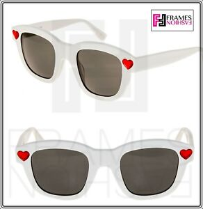 96c3e962f8b SAINT LAURENT YSL SL100 NEW WAVE LOLITA Sunglasses White Red Heart ...
