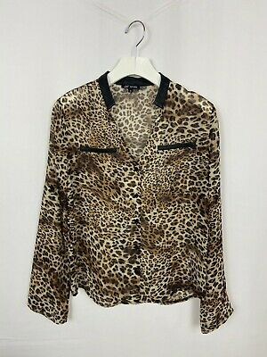 Women Ladies Leopard Print Shirt V Neck Long Sleeve Tops Blouse Shirt Size 6-22