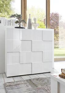 Credenza Moderna, Madia di Design, 2 ante Alta, Bianco Lucido | eBay