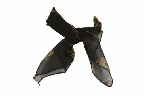 Women/'s Dark Brown Small Neck Tie Soft Scarf With  White Flower Pocket Square