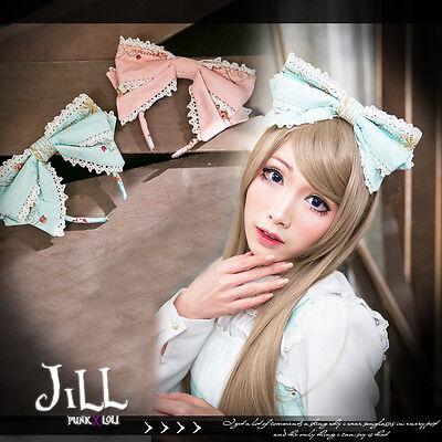 Lolita rococo aristocrat canary bridal song lace trim double layer bow headband