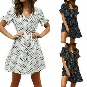 Women-039-s-Boho-V-Neck-Polka-Dot-Mini-Dress-Ladies-Summer-Party-Beach-Sundress-6-18