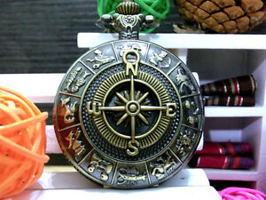 Antique-Compass-Zodiac-bronze-vintage-charm-steampunk-pocket-watch-necklace