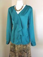 Coldwater Creek Drape Charmeuse Shirt Ruffle Blouse Top Polyester Womens