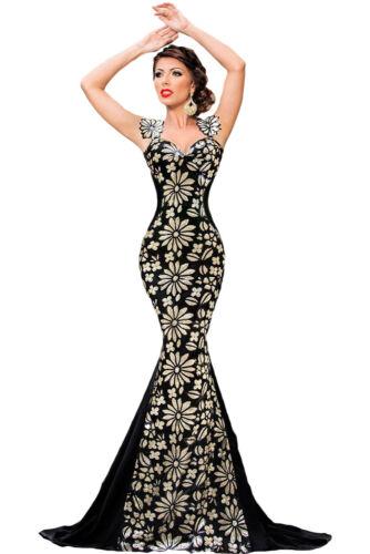 Abito lungo aperto Ricamato Scollo aderente Cerimonia Pailettes Mermaid Dress S