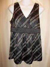 NEW YORK & COMPANY Women's Sleeveless BLACK SATIN PLAID Blouse Top Size 8