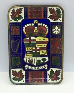 Vintage-enameled-Brass-Ashtray-CANADA-Crown-Collectible-Colorful-3-5-8-x2-1-2