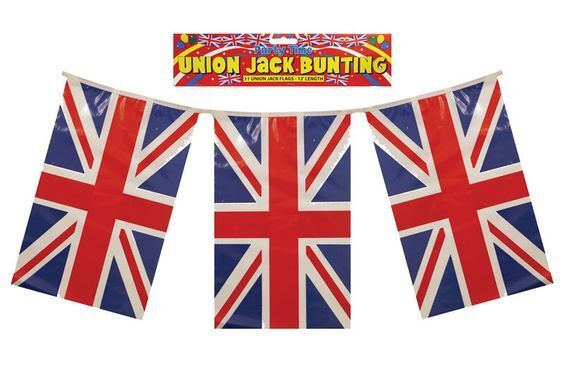 Double Sided Plastic Union Jack British Britain Flag Banner Bunting Lot F30 077