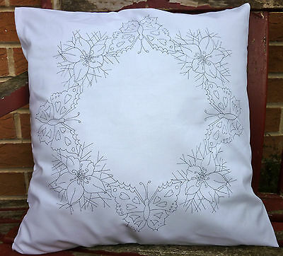 Printed Embroidery traced to embroider Pillow cases Butterfly White poly Cotton