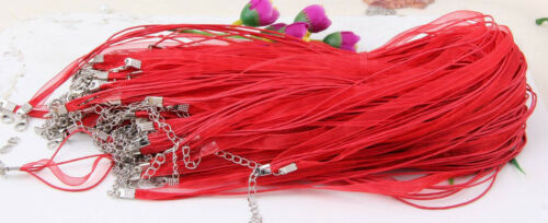 Wholesale 50pcs Organza Voile String ribbon Cord Necklace Lobster Clasp Chain