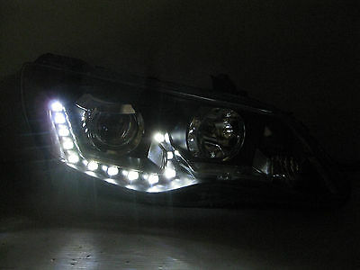 Honda Civic Sedan Led Headlights Black Halo LED Projector Honda Type R FD1 FD2