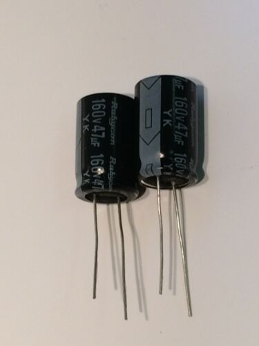 X2 fbe4b6 47UF 160V RADIAL ELECTROLYTIC CAPACITOR RUBYCON YK
