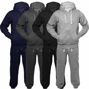 Boys-Tracksuit-New-Kids-Plain-Hooded-Jogging-Bottoms-And-Hoodie-Ages-2-13-Years