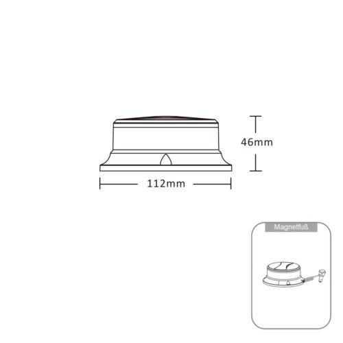 Zusatzkennleuchte PLANUR mit Magnetfuß klar//gelb