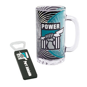 Adelaide Port Power AFL 500ml Glass Stein Magnetic Bottle Opener Fathers GIFT
